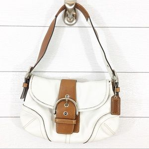 COACH SOHO BUCKLE FLAP IVORY W BROWN LEATHER BAG